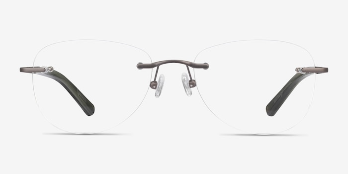 Smooth Dark Gunmetal Titanium Eyeglass Frames from EyeBuyDirect, Front View