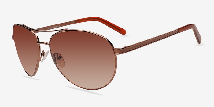 Everett Brown Metal Sunglass Frames from EyeBuyDirect, Angle View