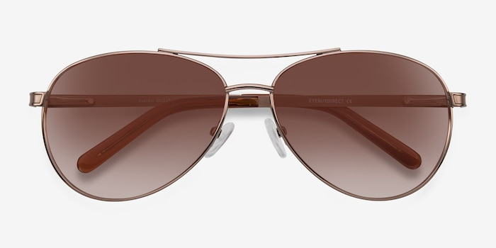 Everett Brown Metal Sunglass Frames from EyeBuyDirect, Closed View
