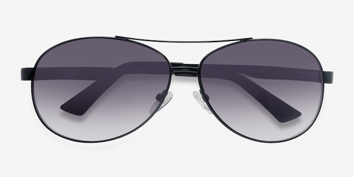 Santorini Black Metal Sunglass Frames from EyeBuyDirect, Closed View