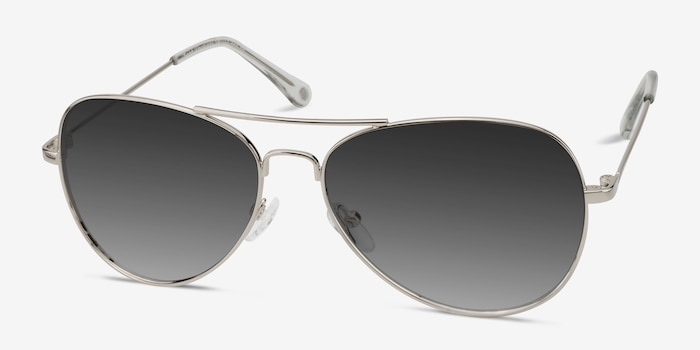 Good Vibrations Silver Metal Sunglass Frames from EyeBuyDirect, Angle View