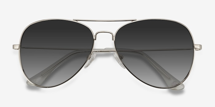 Good vibrations Silver Metal Sunglass Frames from EyeBuyDirect, Closed View