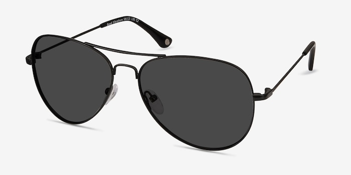 Good Vibrations Black Metal Sunglass Frames from EyeBuyDirect, Angle View