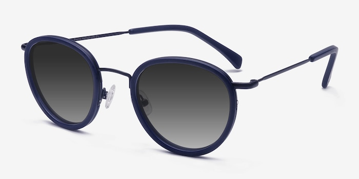 Siena Matte Navy Acetate Sunglass Frames from EyeBuyDirect, Angle View