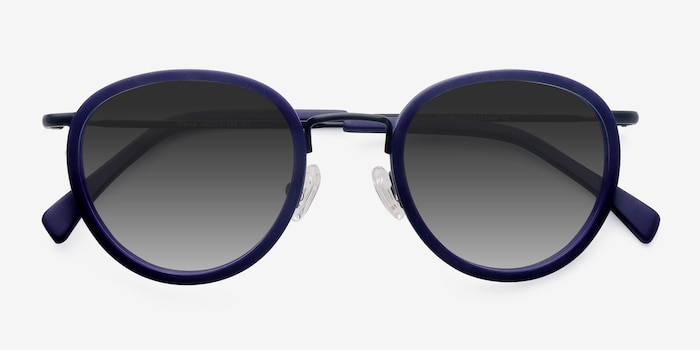 Siena Matte Navy Acetate Sunglass Frames from EyeBuyDirect, Closed View