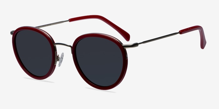 Siena Red Metal Sunglass Frames from EyeBuyDirect, Angle View