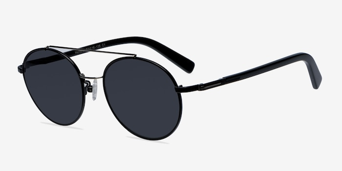 Hendrix Black/Silver Metal Sunglass Frames from EyeBuyDirect, Angle View