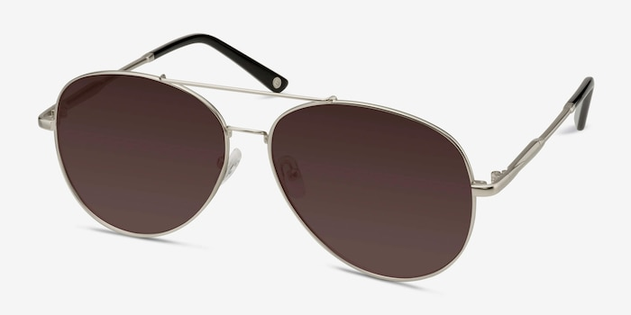 Camp  Matte Silver  Metal Sunglass Frames from EyeBuyDirect, Angle View