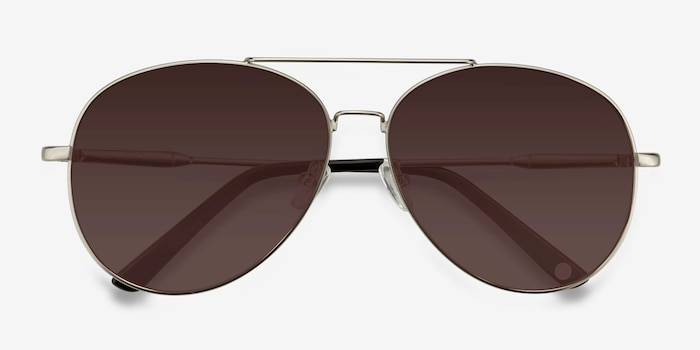 Camp  Matte Silver  Metal Sunglass Frames from EyeBuyDirect, Closed View