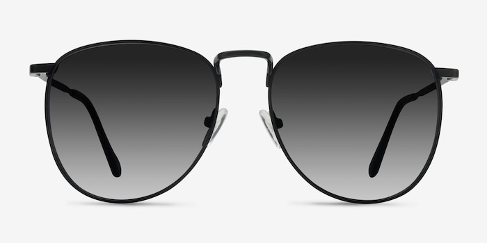 Fume Black Metal Sunglass Frames from EyeBuyDirect, Front View