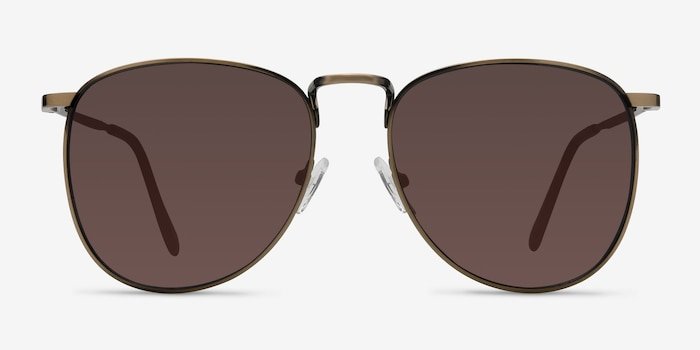 Fume Bronze Metal Sunglass Frames from EyeBuyDirect, Front View