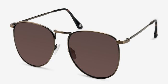 Fume Bronze Metal Sunglass Frames from EyeBuyDirect, Angle View