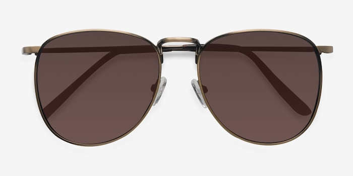 Fume Bronze Metal Sunglass Frames from EyeBuyDirect, Closed View