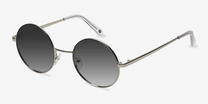 Guru Silver Metal Sunglass Frames from EyeBuyDirect, Angle View