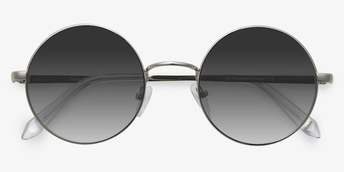 Guru Silver Metal Sunglass Frames from EyeBuyDirect, Closed View