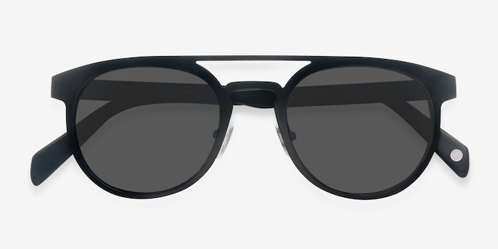 Playground Black Metal Sunglass Frames from EyeBuyDirect, Closed View