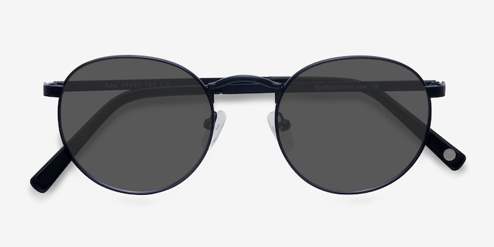 Rex  Navy  Metal Sunglass Frames from EyeBuyDirect, Closed View