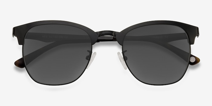 Veil Black Metal Sunglass Frames from EyeBuyDirect, Closed View