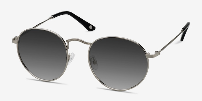 Disclosure Silver Metal Sunglass Frames from EyeBuyDirect, Angle View