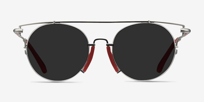 Blockpop Silver Red Acetate Sunglass Frames from EyeBuyDirect, Front View