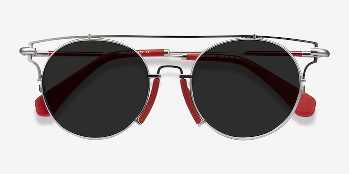 Blockpop Silver Red Acetate Sunglass Frames from EyeBuyDirect, Closed View