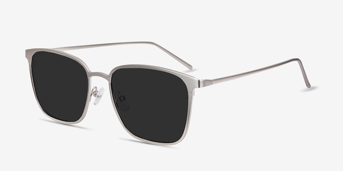 Jolt Silver Metal Sunglass Frames from EyeBuyDirect, Angle View
