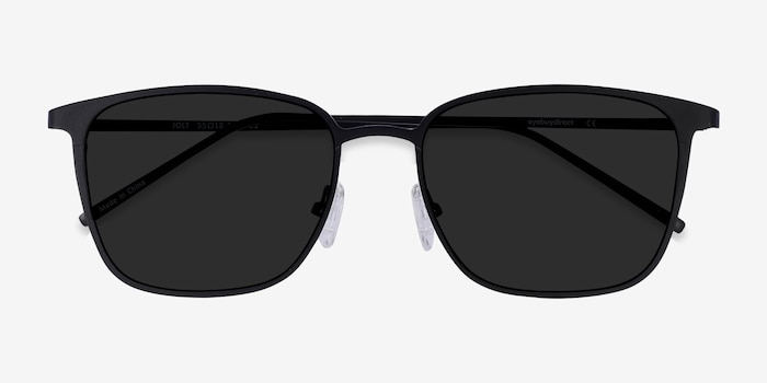 Jolt Black Metal Sunglass Frames from EyeBuyDirect, Closed View