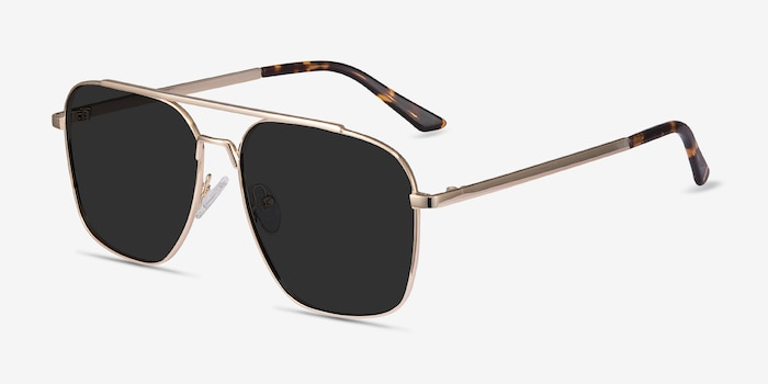 Route 66 Golden Metal Sunglass Frames from EyeBuyDirect, Angle View