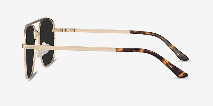 Route 66 Golden Metal Sunglass Frames from EyeBuyDirect, Side View
