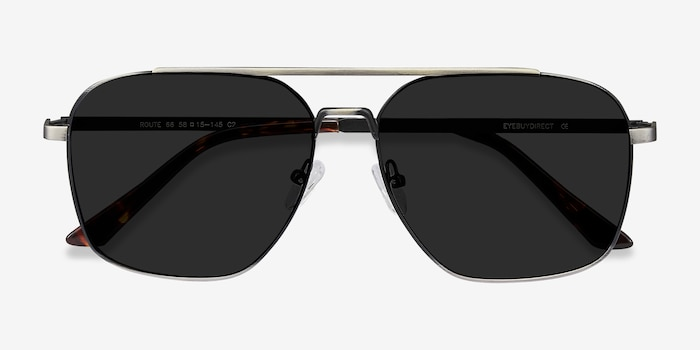 Route 66 Gunmetal Metal Sunglass Frames from EyeBuyDirect, Closed View