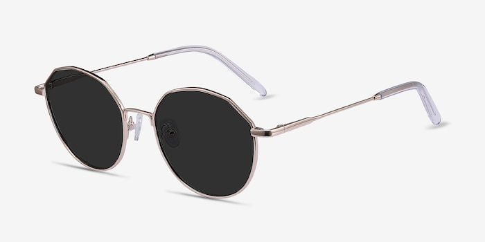 Village Rose Gold Metal Sunglass Frames from EyeBuyDirect, Angle View