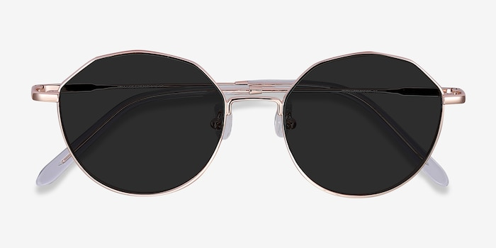 Village Rose Gold Metal Sunglass Frames from EyeBuyDirect, Closed View