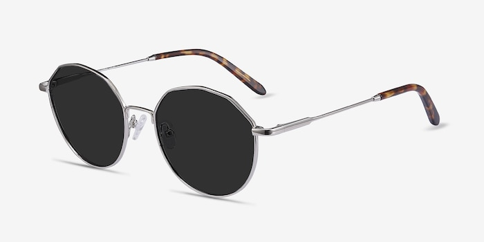 Village Silver Metal Sunglass Frames from EyeBuyDirect, Angle View