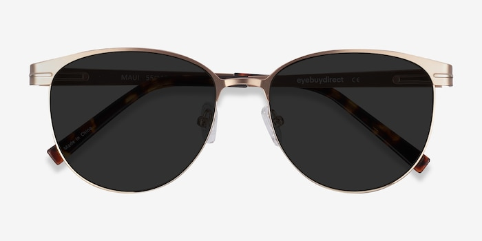 Maui Rose Gold Metal Sunglass Frames from EyeBuyDirect, Closed View