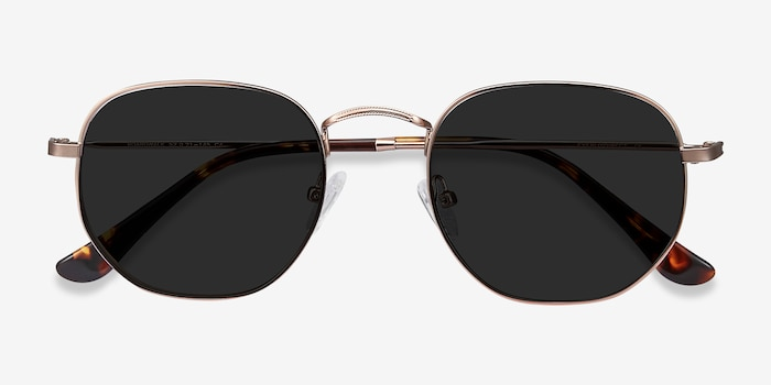 Boardwalk Rose Gold Metal Sunglass Frames from EyeBuyDirect, Closed View