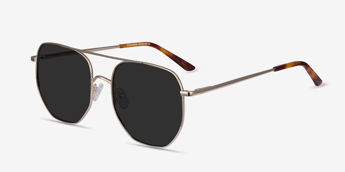 Impossible Golden Metal Sunglass Frames from EyeBuyDirect, Angle View