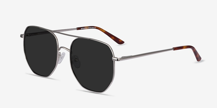 Impossible Silver Metal Sunglass Frames from EyeBuyDirect, Angle View