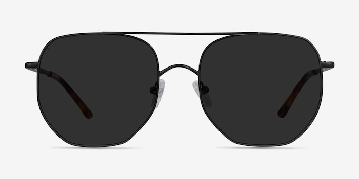 Impossible Black Metal Sunglass Frames from EyeBuyDirect, Front View