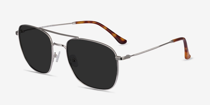 Seeker Silver Metal Sunglass Frames from EyeBuyDirect, Angle View