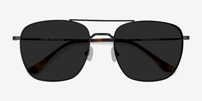 Seeker Black Metal Sunglass Frames from EyeBuyDirect, Closed View