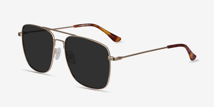 Blaze Golden Metal Sunglass Frames from EyeBuyDirect, Angle View