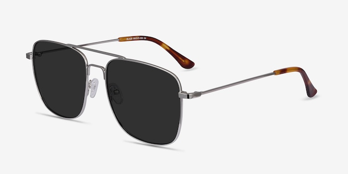 Blaze Silver Metal Sunglass Frames from EyeBuyDirect, Angle View