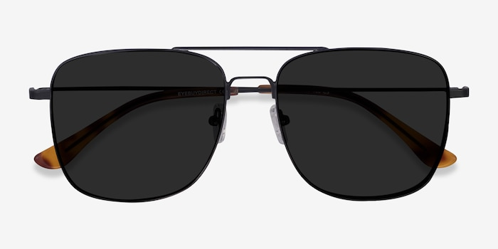 Blaze Black Metal Sunglass Frames from EyeBuyDirect, Closed View