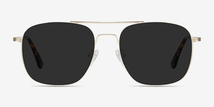Sun Fame Golden Metal Sunglass Frames from EyeBuyDirect, Front View