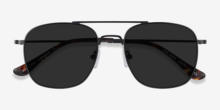 Sun Fame Black Metal Sunglass Frames from EyeBuyDirect, Closed View