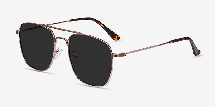 Sun Fame Rose Gold Metal Sunglass Frames from EyeBuyDirect, Angle View