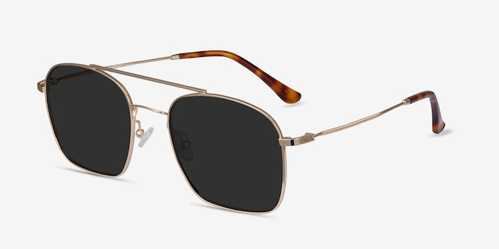 Itza Golden Metal Sunglass Frames from EyeBuyDirect, Angle View