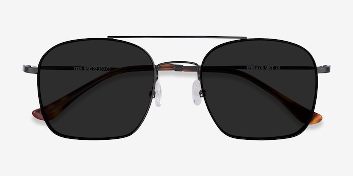 Itza Black Metal Sunglass Frames from EyeBuyDirect, Closed View
