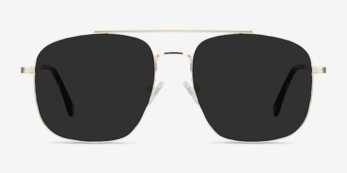 Roadtrip Golden Metal Sunglass Frames from EyeBuyDirect, Front View