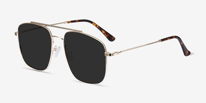 Roadtrip Golden Metal Sunglass Frames from EyeBuyDirect, Angle View